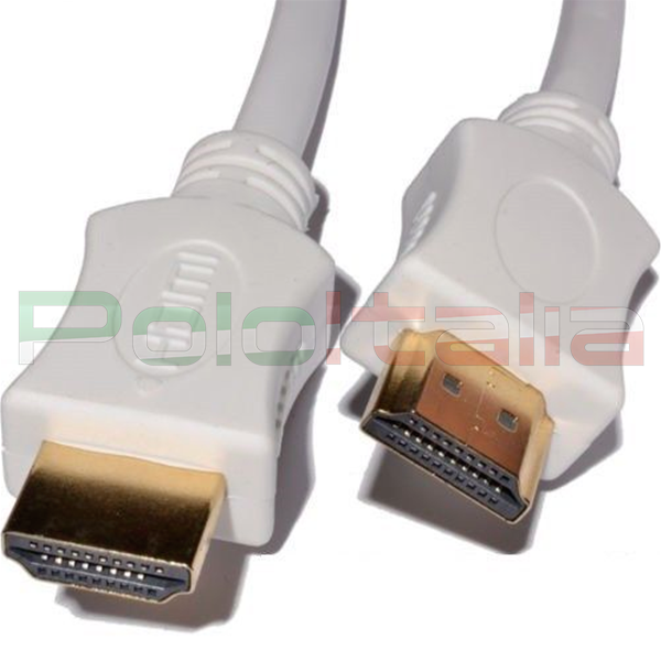 Cavo HDMI 1.4 with Ethernet 3D Full HD 4K Tipo A Maschio/Maschio Bianco